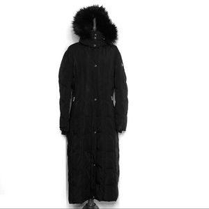 Calvin Klein Black Hooded Maxi Puffer Coat Large